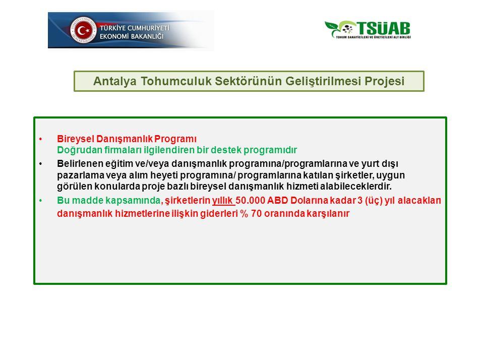Bireysel Danışmanlık Programı Doğrudan firmaları ilgilendiren bir destek programıdır Belirlenen eğitim ve/veya danışmanlık programına/programlarına ve