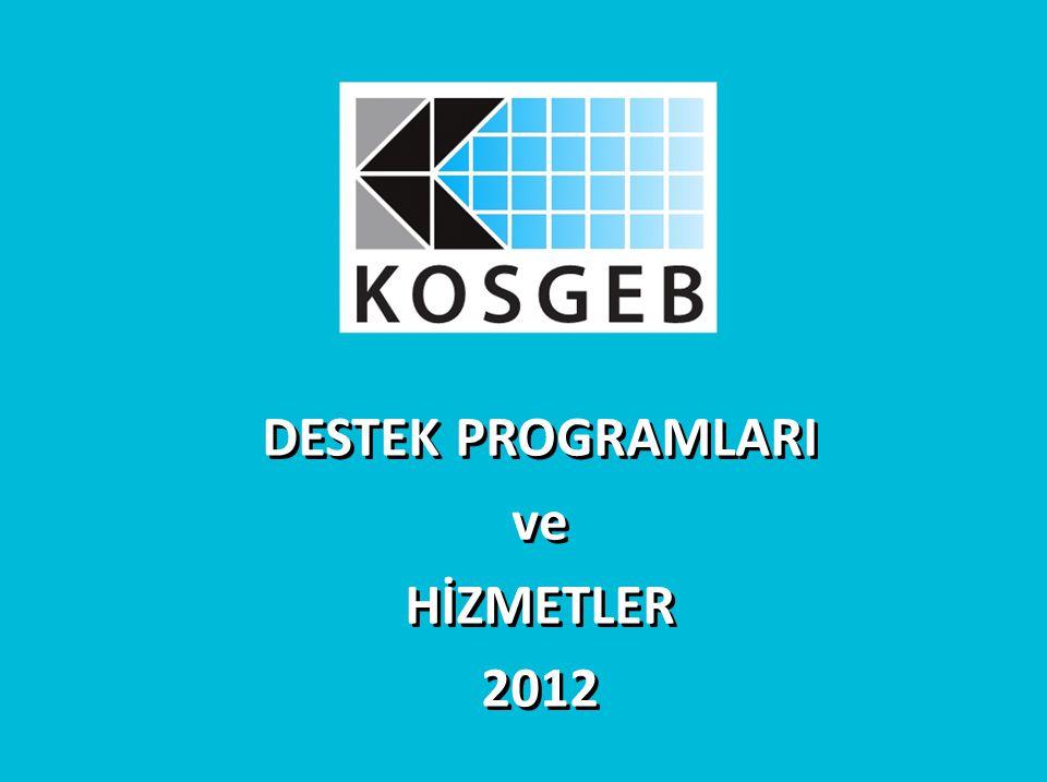 DESTEK PROGRAMLARI ve HİZMETLER 2012 DESTEK PROGRAMLARI ve HİZMETLER 2012