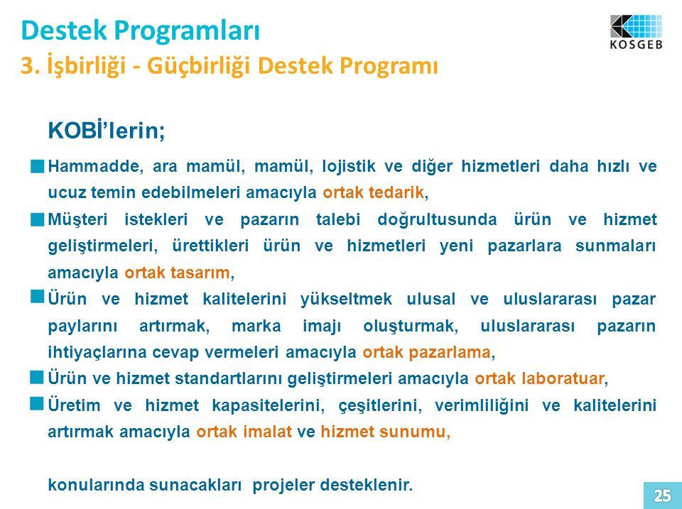 Destek Programları 3. İşbirliği - Güçbirliği Destek Programı KOBİ'lerin; Hammadde, ara mamül, mamül, lojistik ve diğer hizmetleri daha hızlı ve ucuz t