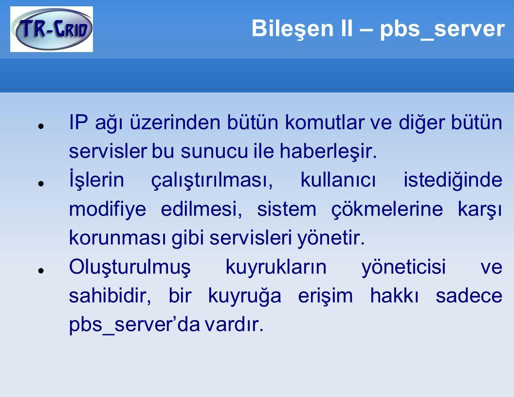 Bileşen II – pbs_server IP ağı üzerinden bütün komutlar ve diğer bütün servisler bu sunucu ile haberleşir.