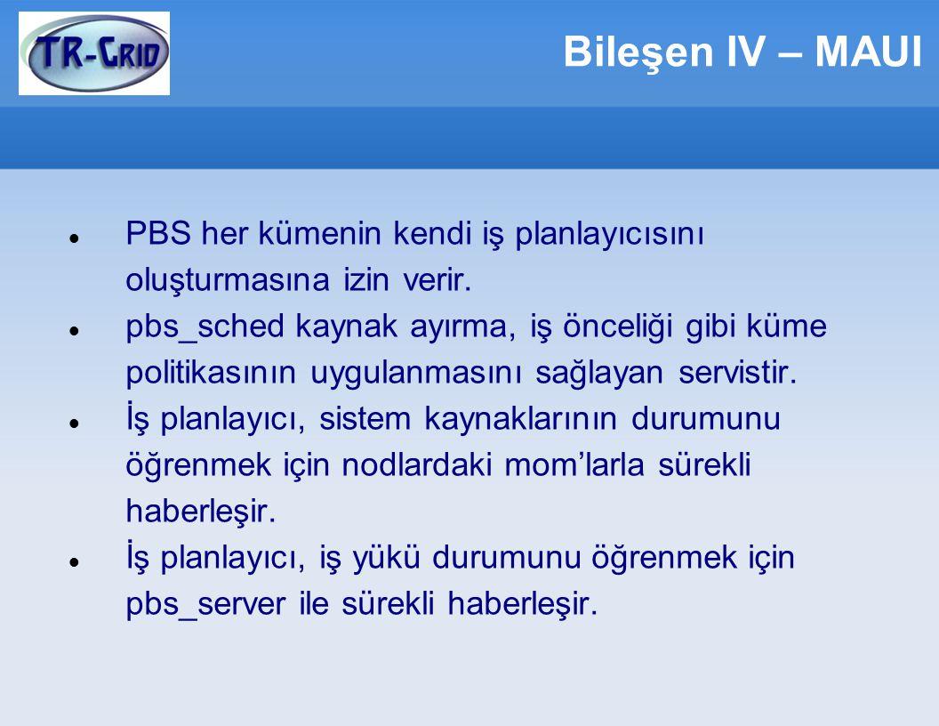 Bileşen IV – MAUI PBS her kümenin kendi iş planlayıcısını oluşturmasına izin verir.