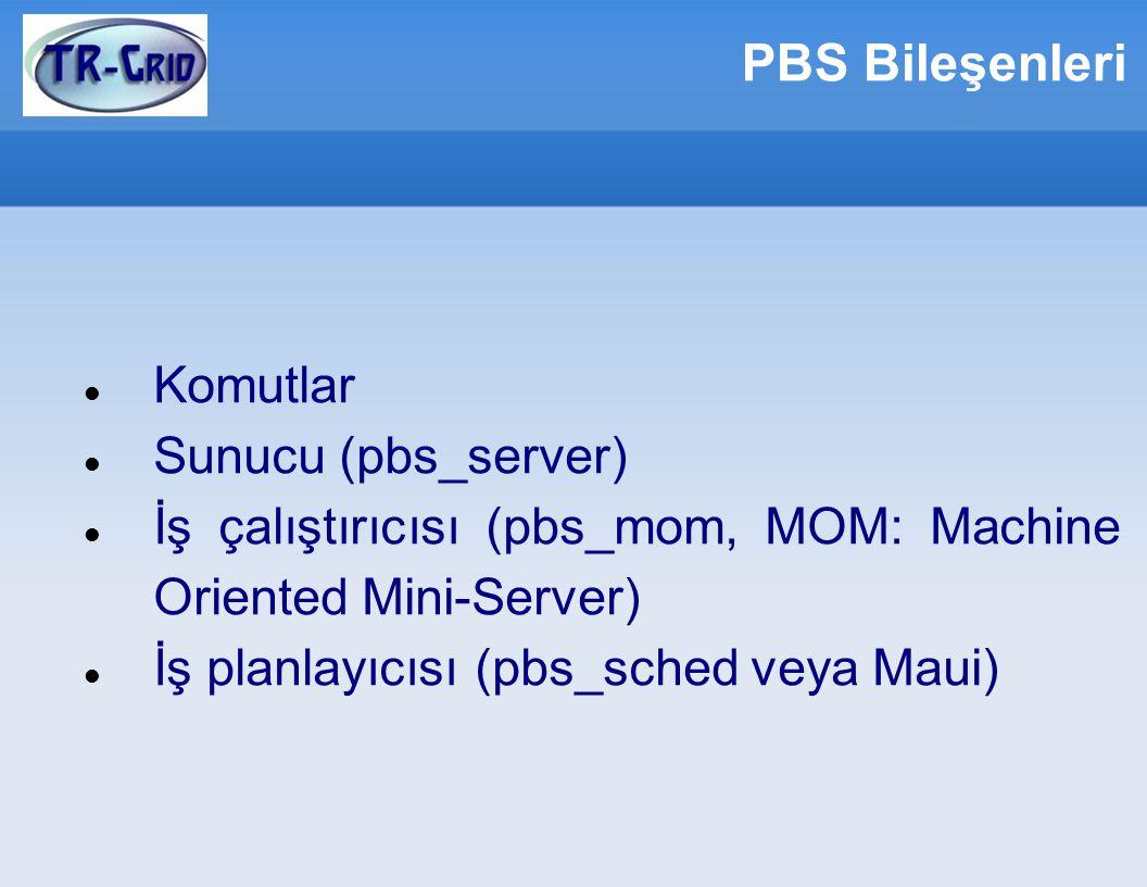 PBS Bileşenleri Komutlar Sunucu (pbs_server) İş çalıştırıcısı (pbs_mom, MOM: Machine Oriented Mini-Server) İş planlayıcısı (pbs_sched veya Maui)