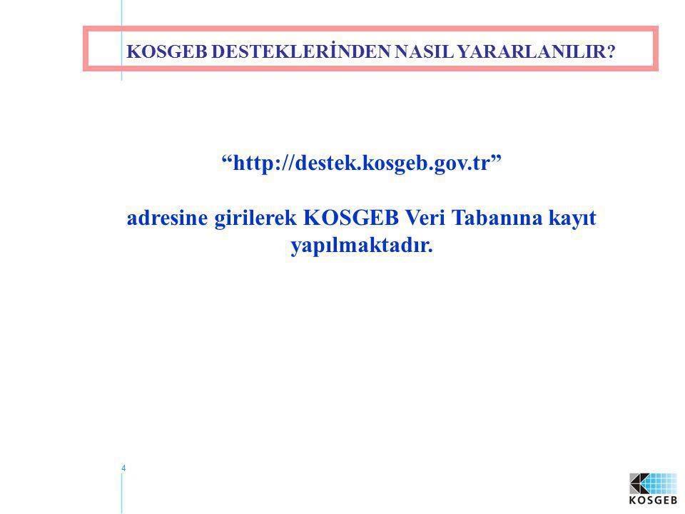 """4 """"http://destek.kosgeb.gov.tr"""" adresine girilerek KOSGEB Veri Tabanına kayıt yapılmaktadır. KOSGEB DESTEKLERİNDEN NASIL YARARLANILIR?"""