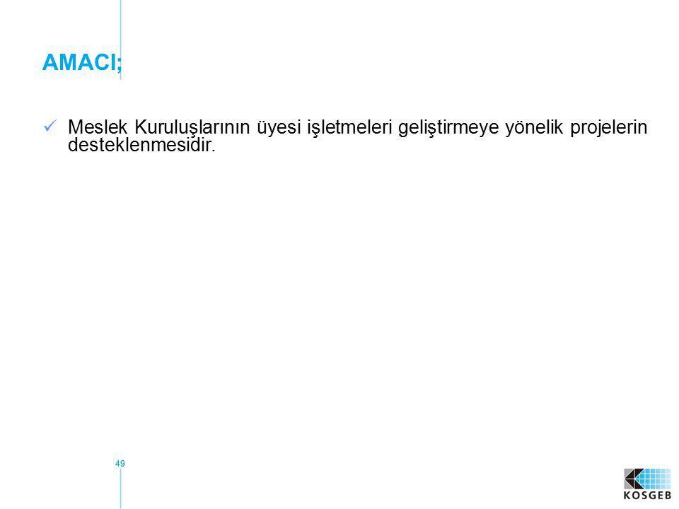 49 AMACI; Meslek Kuruluşlarının üyesi işletmeleri geliştirmeye yönelik projelerin desteklenmesidir.