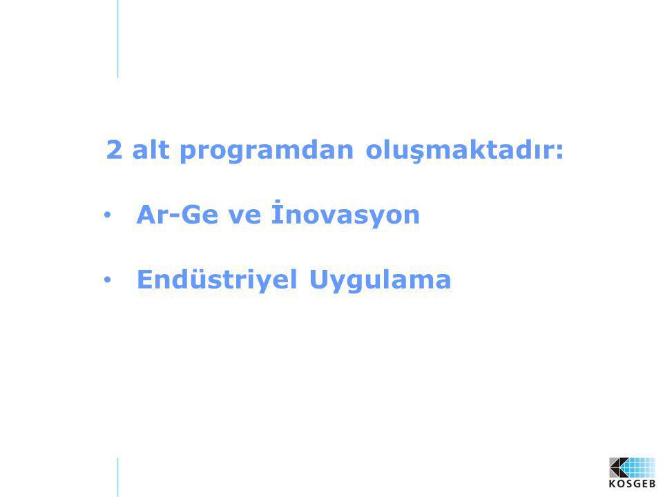 2 alt programdan oluşmaktadır: Ar-Ge ve İnovasyon Endüstriyel Uygulama