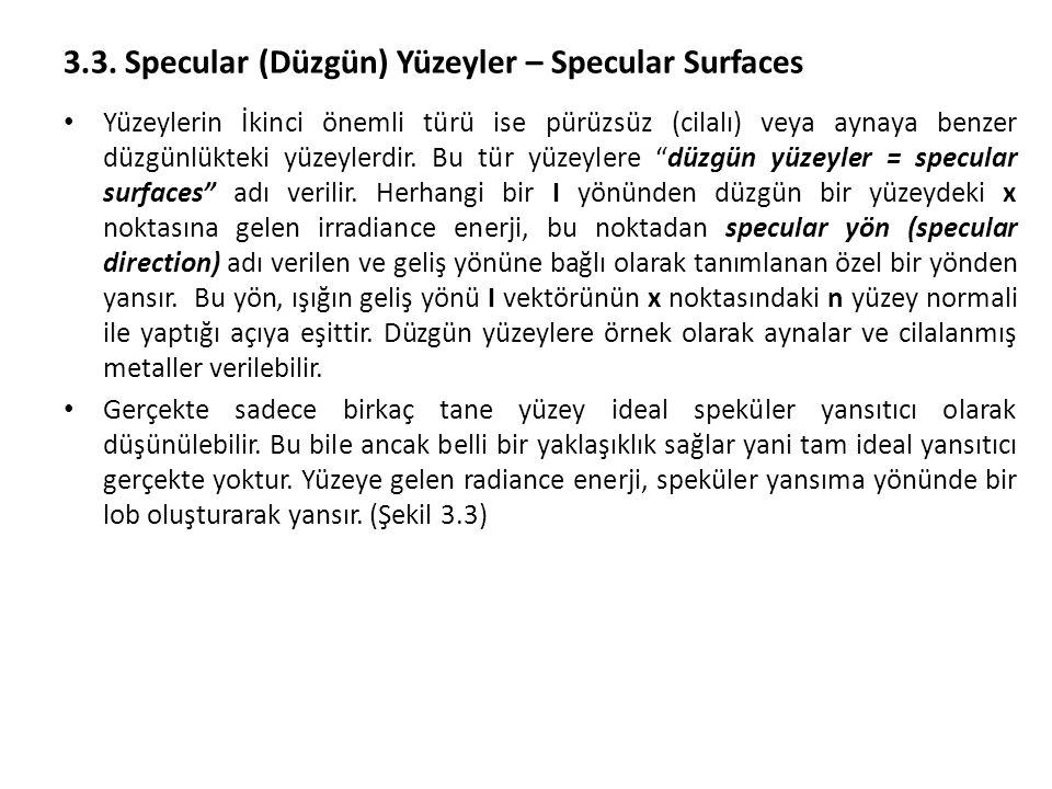 3.3. Specular (Düzgün) Yüzeyler – Specular Surfaces Yüzeylerin İkinci önemli türü ise pürüzsüz (cilalı) veya aynaya benzer düzgünlükteki yüzeylerdir.
