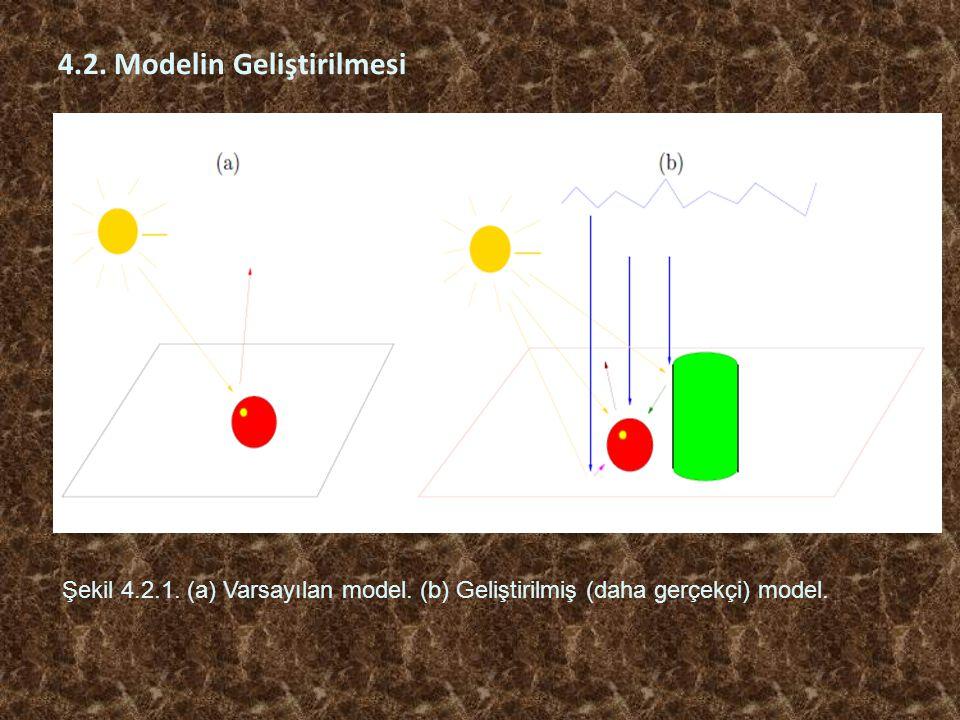4.2. Modelin Geliştirilmesi Şekil 4.2.1. (a) Varsayılan model. (b) Geliştirilmiş (daha gerçekçi) model.