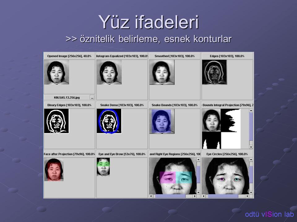 Yüz ifadeleri >> öznitelik belirleme, esnek konturlar odtü vISion lab