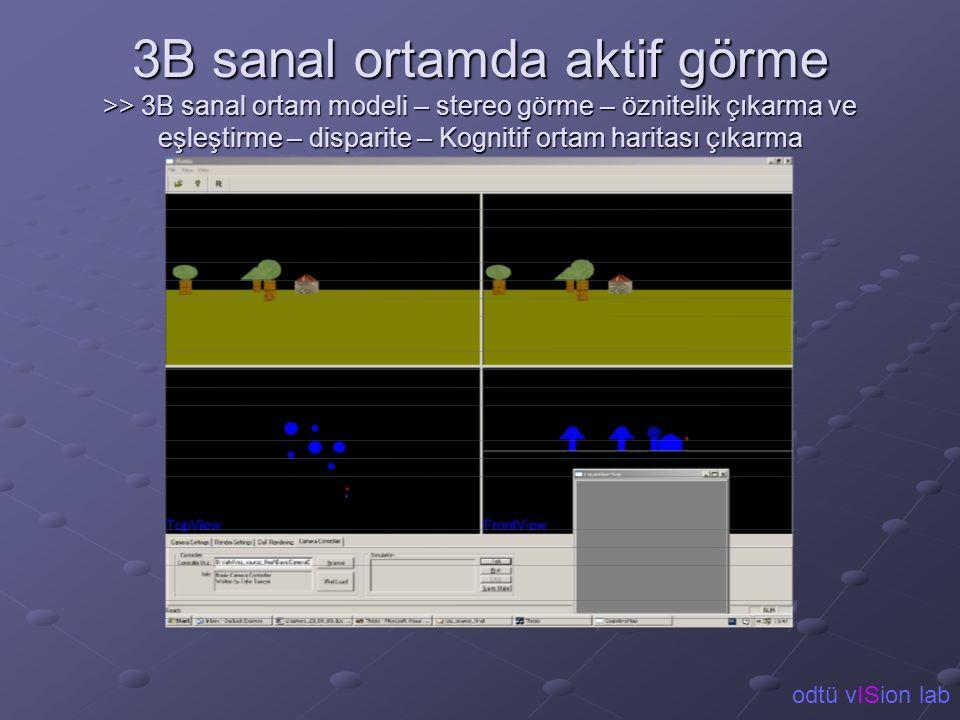 3B sanal ortamda aktif görme >> 3B sanal ortam modeli – stereo görme – öznitelik çıkarma ve eşleştirme – disparite – Kognitif ortam haritası çıkarma o