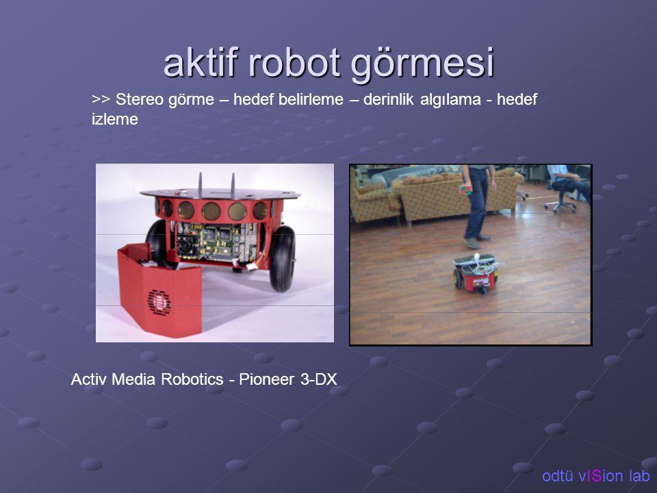 aktif robot görmesi >> Stereo görme – hedef belirleme – derinlik algılama - hedef izleme Activ Media Robotics - Pioneer 3-DX odtü vISion lab