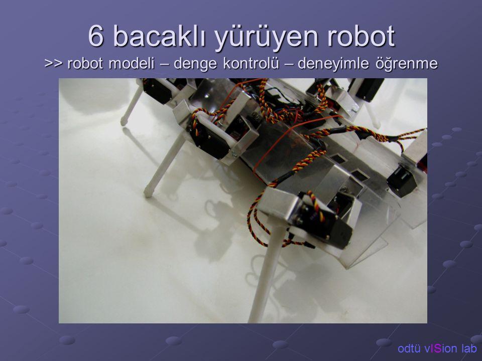 6 bacaklı yürüyen robot >> robot modeli – denge kontrolü – deneyimle öğrenme odtü vISion lab