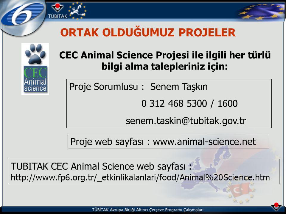 ORTAK OLDUĞUMUZ PROJELER CEC Animal Science Projesi ile ilgili her türlü bilgi alma talepleriniz için: Proje Sorumlusu : Senem Taşkın 0 312 468 5300 / 1600 senem.taskin@tubitak.gov.tr Proje web sayfası : www.animal-science.net TUBITAK CEC Animal Science web sayfası : http://www.fp6.org.tr/_etkinlikalanlari/food/Animal%20Science.htm