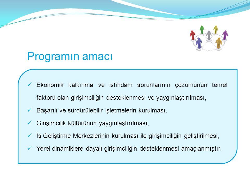 Programın amacı Ekonomik kalkınma ve istihdam sorunlarının çözümünün temel faktörü olan girişimciliğin desteklenmesi ve yaygınlaştırılması, Başarılı ve sürdürülebilir işletmelerin kurulması, Girişimcilik kültürünün yaygınlaştırılması, İş Geliştirme Merkezlerinin kurulması ile girişimciliğin geliştirilmesi, Yerel dinamiklere dayalı girişimciliğin desteklenmesi amaçlanmıştır.