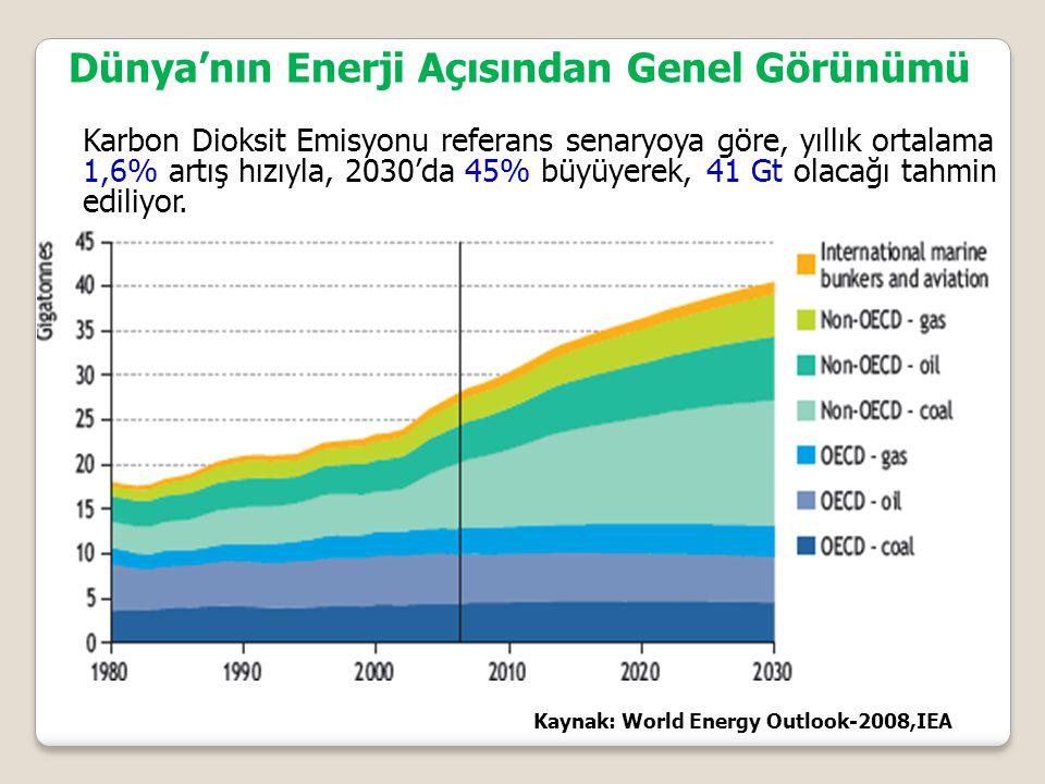 Karbon Dioksit Emisyonu referans senaryoya göre, yıllık ortalama 1,6% artış hızıyla, 2030'da 45% büyüyerek, 41 Gt olacağı tahmin ediliyor.