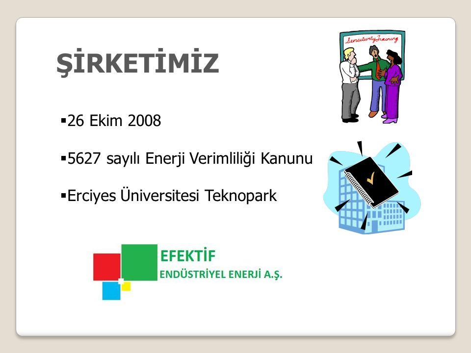 ŞİRKETİMİZ  26 Ekim 2008  5627 sayılı Enerji Verimliliği Kanunu  Erciyes Üniversitesi Teknopark