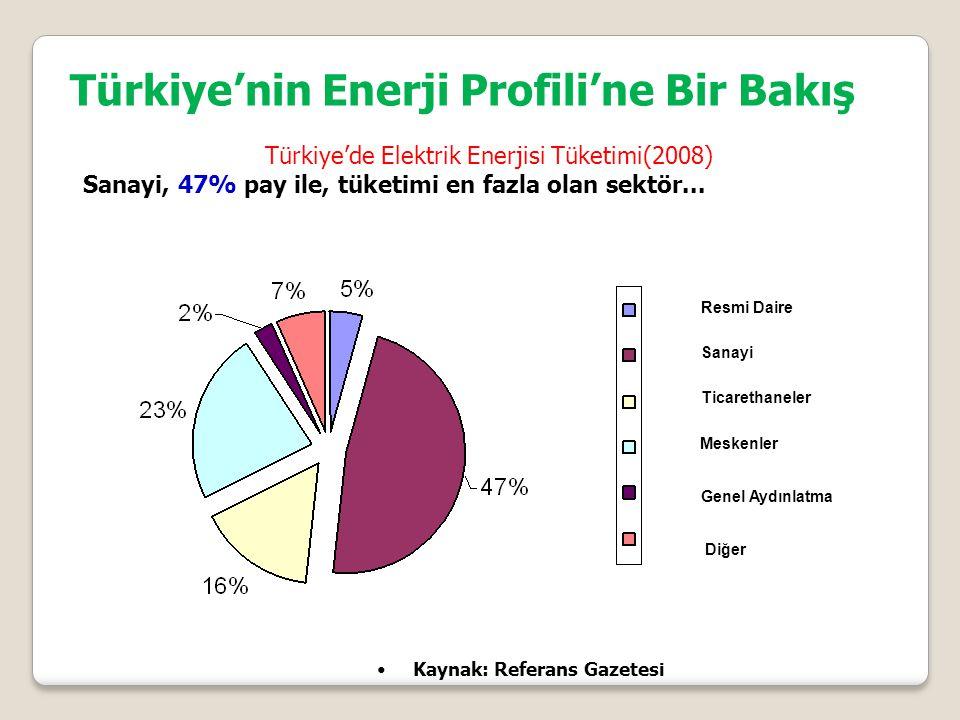 Resmi Daire Sanayi Ticarethaneler Meskenler Genel Aydınlatma Diğer Kaynak: Referans Gazetesi Türkiye'de Elektrik Enerjisi Tüketimi(2008) Sanayi, 47% pay ile, tüketimi en fazla olan sektör...