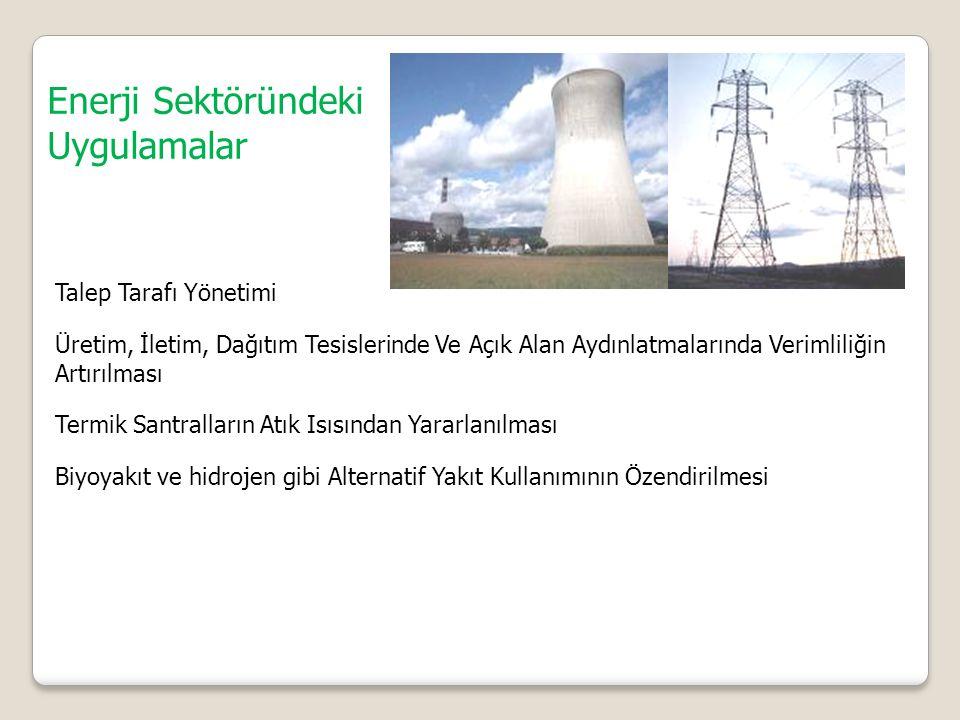 Enerji Sektöründeki Uygulamalar Talep Tarafı Yönetimi Üretim, İletim, Dağıtım Tesislerinde Ve Açık Alan Aydınlatmalarında Verimliliğin Artırılması Termik Santralların Atık Isısından Yararlanılması Biyoyakıt ve hidrojen gibi Alternatif Yakıt Kullanımının Özendirilmesi