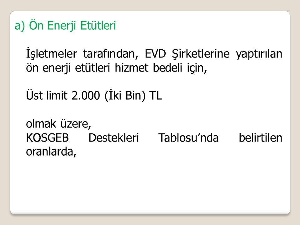 a) Ön Enerji Etütleri İşletmeler tarafından, EVD Şirketlerine yaptırılan ön enerji etütleri hizmet bedeli için, Üst limit 2.000 (İki Bin) TL olmak üzere, KOSGEB Destekleri Tablosu'nda belirtilen oranlarda,