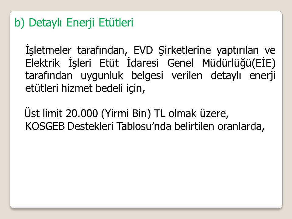 b) Detaylı Enerji Etütleri İşletmeler tarafından, EVD Şirketlerine yaptırılan ve Elektrik İşleri Etüt İdaresi Genel Müdürlüğü(EİE) tarafından uygunluk belgesi verilen detaylı enerji etütleri hizmet bedeli için, Üst limit 20.000 (Yirmi Bin) TL olmak üzere, KOSGEB Destekleri Tablosu'nda belirtilen oranlarda,