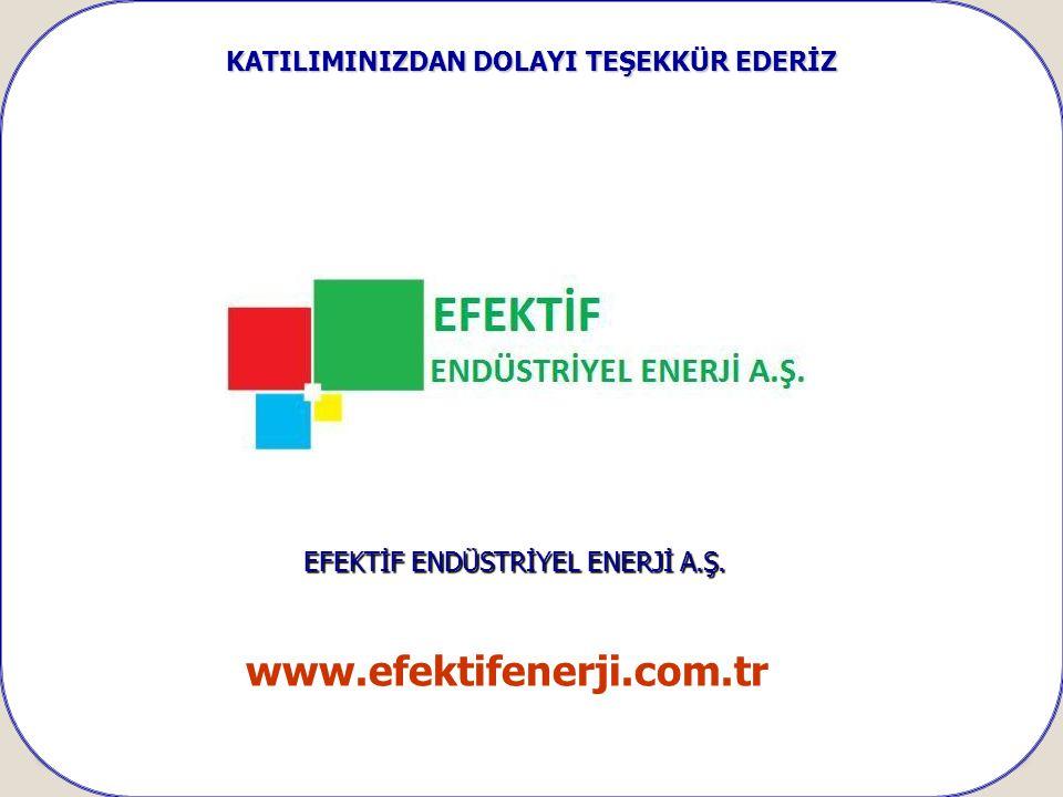 KATILIMINIZDAN DOLAYI TEŞEKKÜR EDERİZ EFEKTİF ENDÜSTRİYEL ENERJİ A.Ş. www.efektifenerji.com.tr