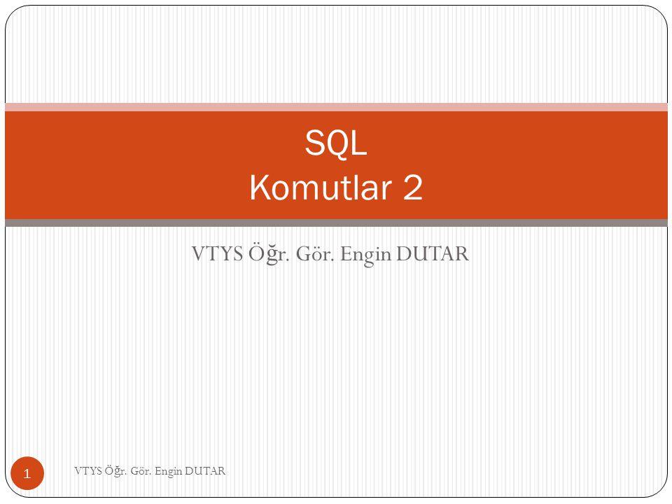 SQL - Between Komutu Görev 10'da olu ş turulan veri tabanındaki 01.03.2009 ile 03.03.2009 tarihleri arasında not alan ö ğ rencileri ve aldıkları notları listelemek için; SELECT ogrno, notu FROM notlar WHERE tarih BETWEEN #03/01/2009# AND #03/03/2009#; Tarih: Ay/gün/yıl 12 VTYS Ö ğ r.