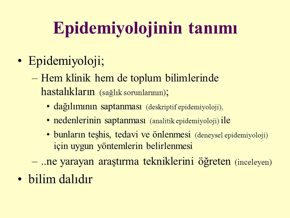 Epidemiyolojinin tanımı Epidemiyoloji; –Hem klinik hem de toplum bilimlerinde hastalıkların (sağlık sorunlarının) ; dağılımının saptanması (deskriptif