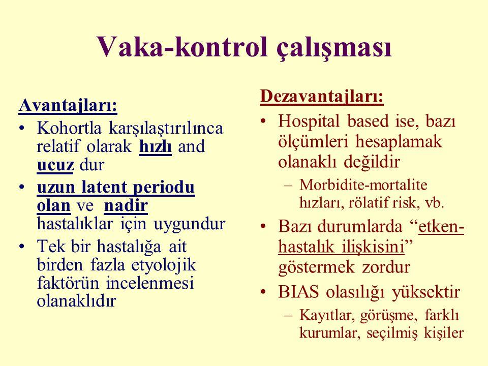 Vaka-kontrol çalışması Avantajları: Kohortla karşılaştırılınca relatif olarak hızlı and ucuz dur uzun latent periodu olan ve nadir hastalıklar için uy