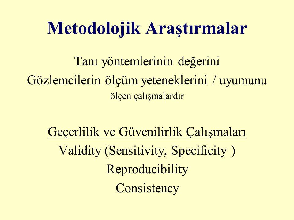 Metodolojik Araştırmalar Tanı yöntemlerinin değerini Gözlemcilerin ölçüm yeteneklerini / uyumunu ölçen çalışmalardır Geçerlilik ve Güvenilirlik Çalışm