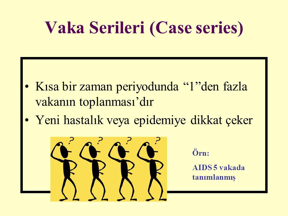 """Vaka Serileri (Case series) Kısa bir zaman periyodunda """"1""""den fazla vakanın toplanması'dır Yeni hastalık veya epidemiye dikkat çeker Örn: AIDS 5 vakad"""