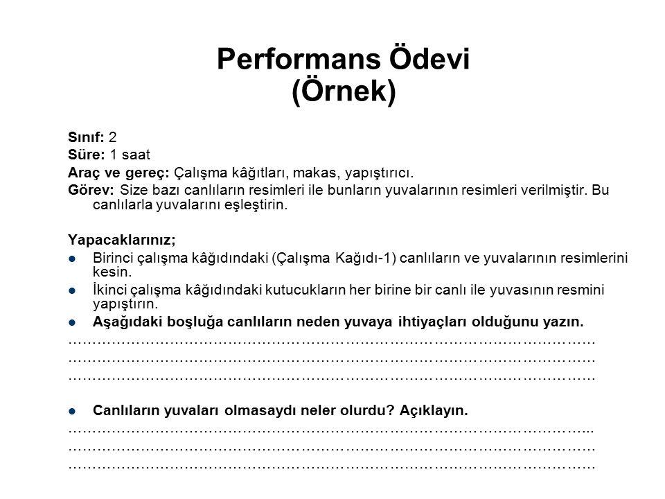 Performans Ödevi (Örnek) Sınıf: 2 Süre: 1 saat Araç ve gereç: Çalışma kâğıtları, makas, yapıştırıcı. Görev: Size bazı canlıların resimleri ile bunları