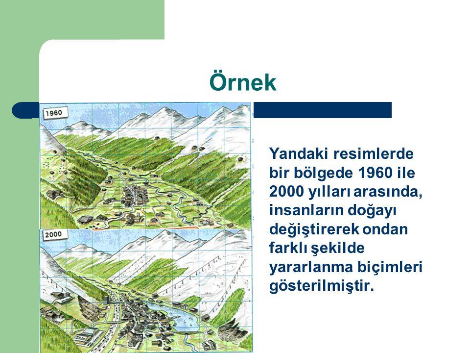 Örnek Yandaki resimlerde bir bölgede 1960 ile 2000 yılları arasında, insanların doğayı değiştirerek ondan farklı şekilde yararlanma biçimleri gösteril