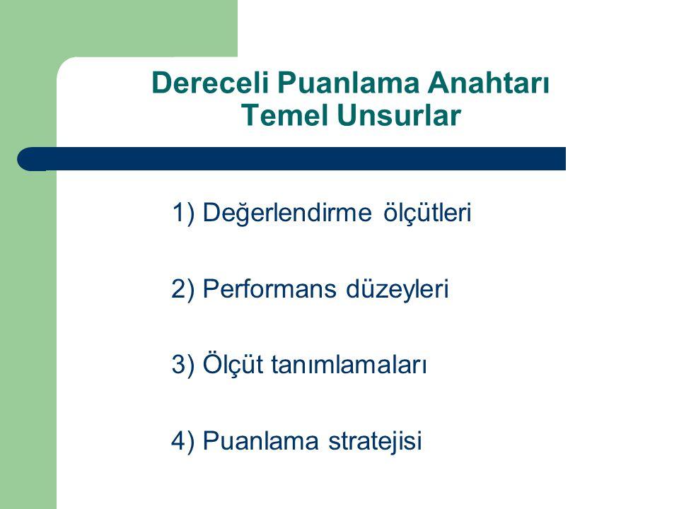 1) Değerlendirme ölçütleri 2) Performans düzeyleri 3) Ölçüt tanımlamaları 4) Puanlama stratejisi Dereceli Puanlama Anahtarı Temel Unsurlar