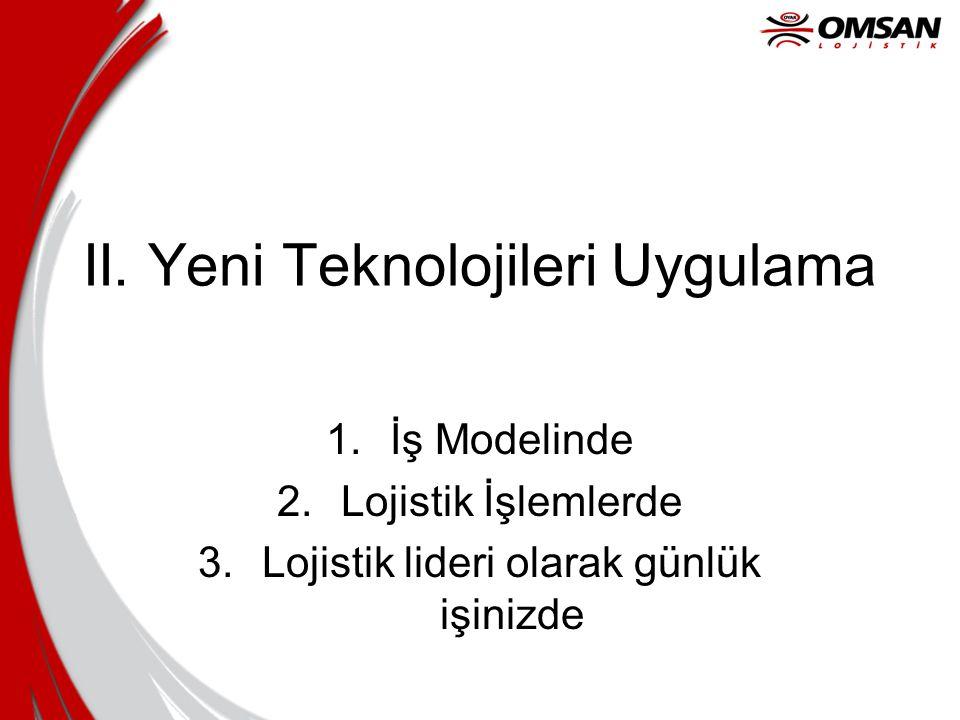 II. Yeni Teknolojileri Uygulama 1.İş Modelinde 2.Lojistik İşlemlerde 3.Lojistik lideri olarak günlük işinizde