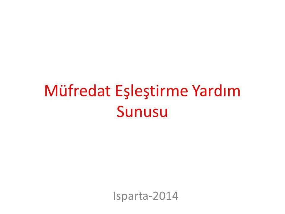 Müfredat Eşleştirme Yardım Sunusu Isparta-2014