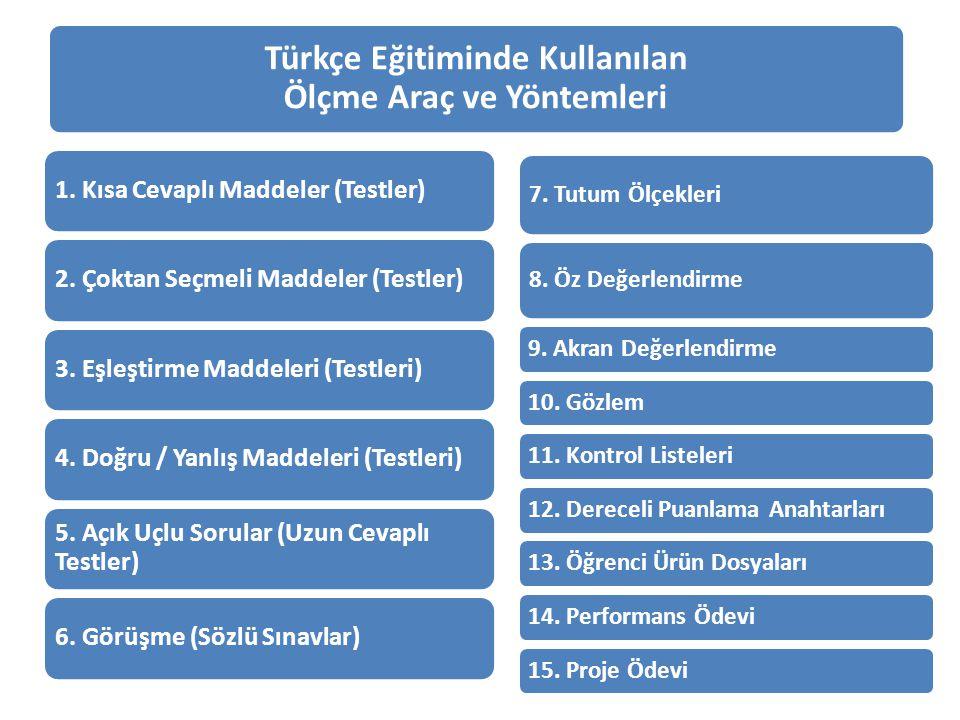 Türkçe Eğitiminde Kullanılan Ölçme Araç ve Yöntemleri 1. Kısa Cevaplı Maddeler (Testler)2. Çoktan Seçmeli Maddeler (Testler)3. Eşleştirme Maddeleri (T