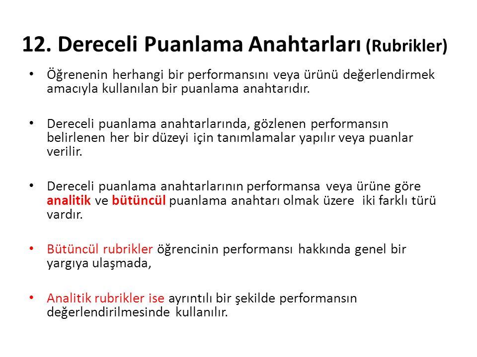 12. Dereceli Puanlama Anahtarları (Rubrikler) Öğrenenin herhangi bir performansını veya ürünü değerlendirmek amacıyla kullanılan bir puanlama anahtarı