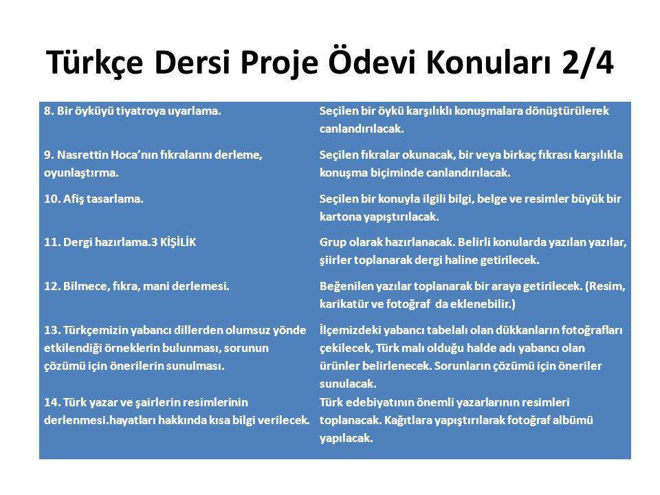 Türkçe Dersi Proje Ödevi Konuları 2/4 8. Bir öyküyü tiyatroya uyarlama. Seçilen bir öykü karşılıklı konuşmalara dönüştürülerek canlandırılacak. 9. Nas