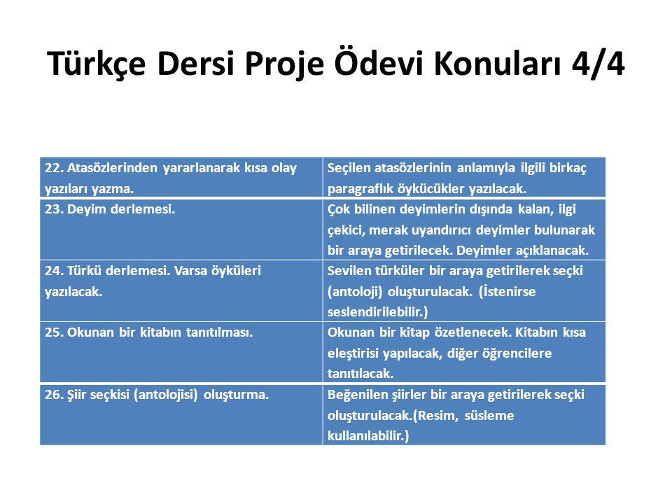 Türkçe Dersi Proje Ödevi Konuları 4/4 22. Atasözlerinden yararlanarak kısa olay yazıları yazma. Seçilen atasözlerinin anlamıyla ilgili birkaç paragraf