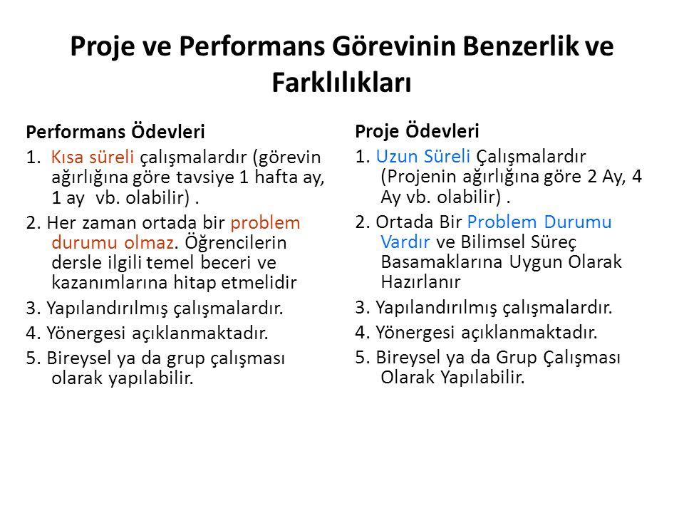 Proje ve Performans Görevinin Benzerlik ve Farklılıkları Performans Ödevleri 1. Kısa süreli çalışmalardır (görevin ağırlığına göre tavsiye 1 hafta ay,