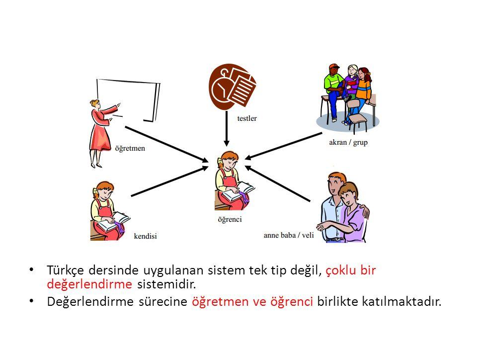 Türkçe dersinde uygulanan sistem tek tip değil, çoklu bir değerlendirme sistemidir. Değerlendirme sürecine öğretmen ve öğrenci birlikte katılmaktadır.