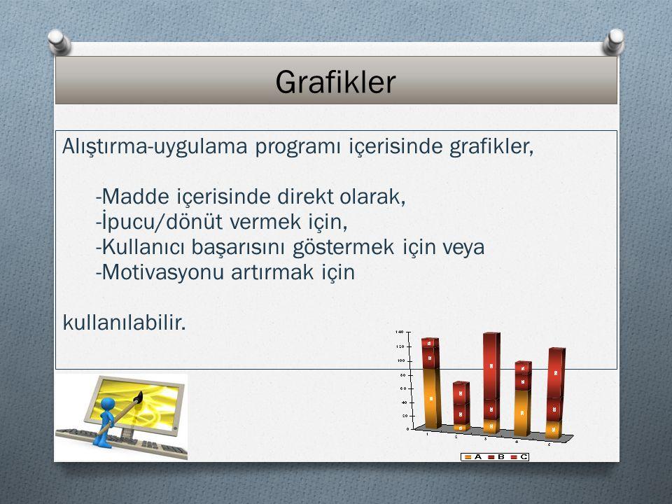 Grafikler Alıştırma-uygulama programı içerisinde grafikler, -Madde içerisinde direkt olarak, -İpucu/dönüt vermek için, -Kullanıcı başarısını göstermek için veya -Motivasyonu artırmak için kullanılabilir.