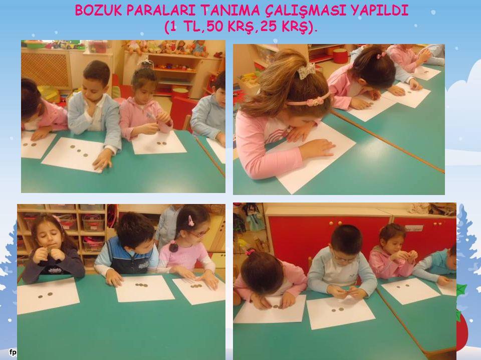 BOZUK PARALARI TANIMA ÇALIŞMASI YAPILDI (1 TL,50 KRŞ,25 KRŞ).