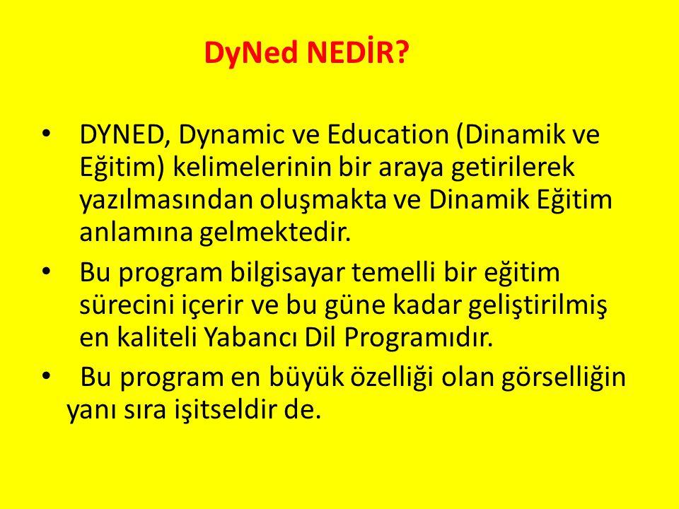 DyNed NEDİR? DYNED, Dynamic ve Education (Dinamik ve Eğitim) kelimelerinin bir araya getirilerek yazılmasından oluşmakta ve Dinamik Eğitim anlamına ge