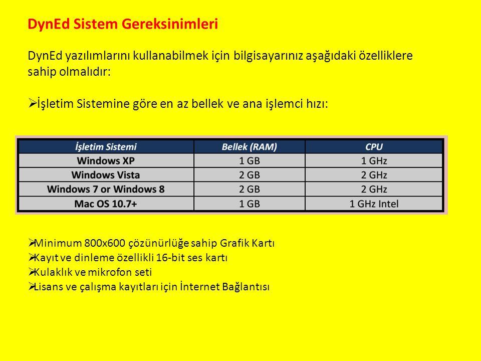 DynEd Sistem Gereksinimleri DynEd yazılımlarını kullanabilmek için bilgisayarınız aşağıdaki özelliklere sahip olmalıdır:  İşletim Sistemine göre en a