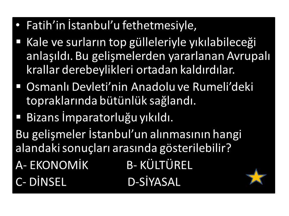 Fatih'in İstanbul'u fethetmesiyle,  Kale ve surların top gülleleriyle yıkılabileceği anlaşıldı.