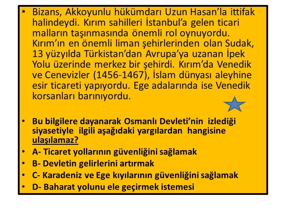 Bizans, Akkoyunlu hükümdarı Uzun Hasan'la ittifak halindeydi. Kırım sahilleri İstanbul'a gelen ticari malların taşınmasında önemli rol oynuyordu. Kırı