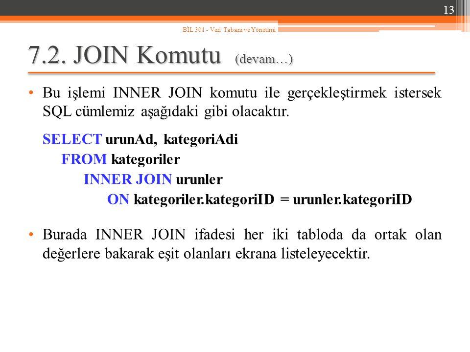 7.2. JOIN Komutu (devam…) Bu işlemi INNER JOIN komutu ile gerçekleştirmek istersek SQL cümlemiz aşağıdaki gibi olacaktır. SELECT urunAd, kategoriAdi F