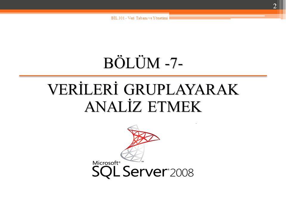 7.4.HAVING Deyimi (devam…) Bu SQL cümlesi istenildiği gibi çalışmayacaktır.