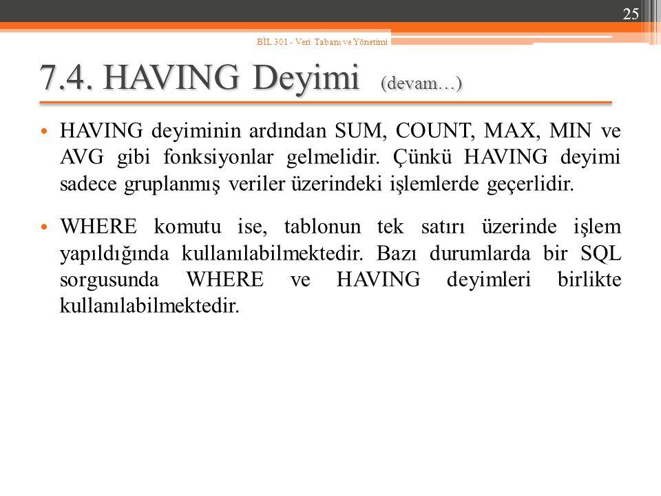 7.4. HAVING Deyimi (devam…) HAVING deyiminin ardından SUM, COUNT, MAX, MIN ve AVG gibi fonksiyonlar gelmelidir. Çünkü HAVING deyimi sadece gruplanmış