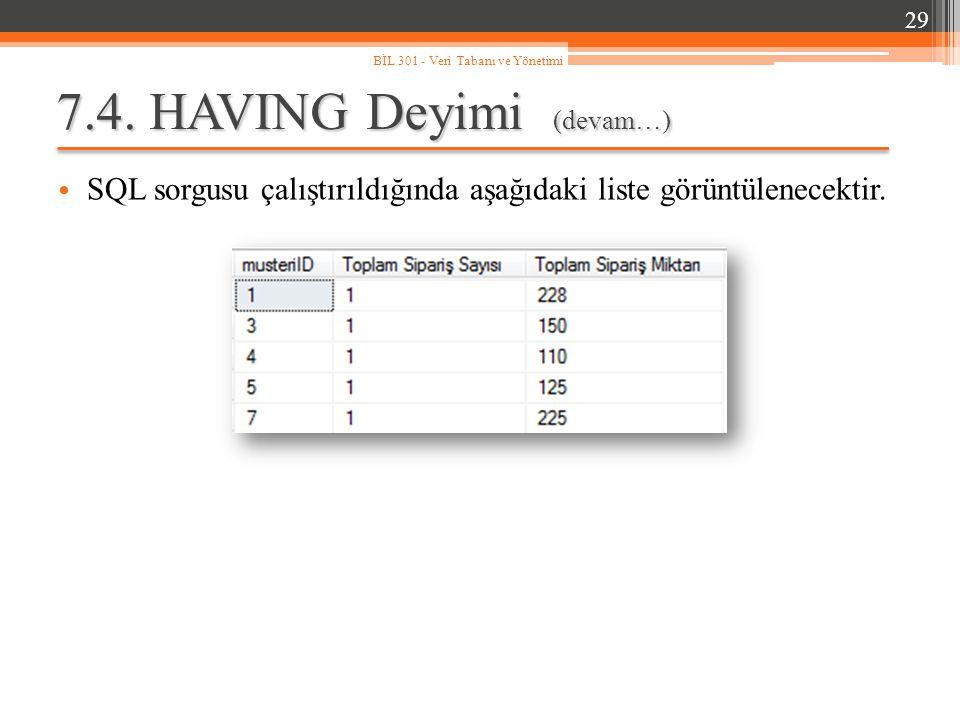 7.4.HAVING Deyimi (devam…) SQL sorgusu çalıştırıldığında aşağıdaki liste görüntülenecektir.